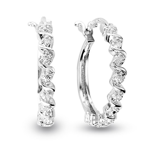 View Silver Diamond Accent S Hoop Earrings