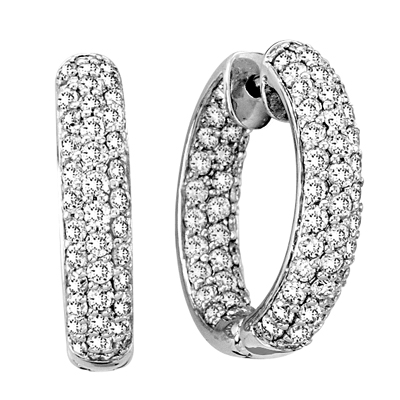 View 4.00cttw Diamond Hoop Earrings set in 14k Gold. 1 Inch Diameter