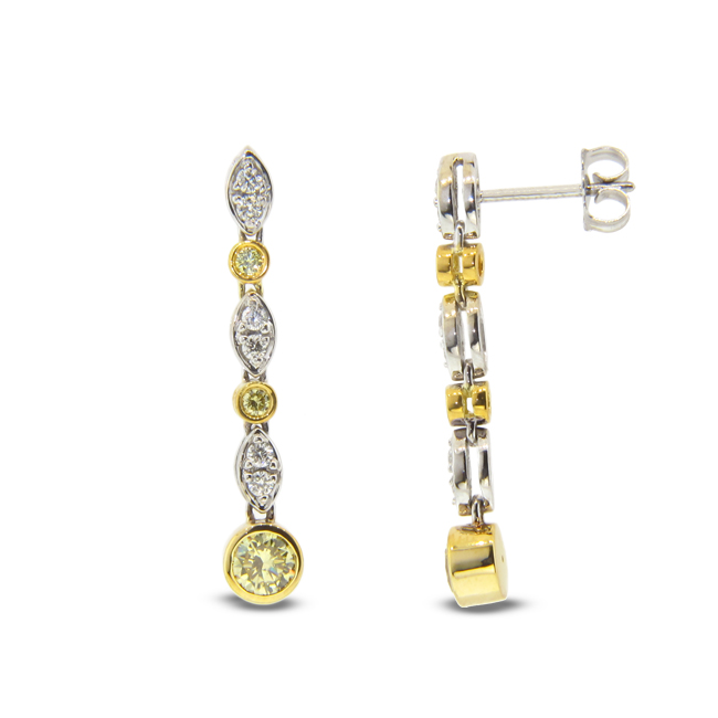 View 1.10ct tw Natural Fancy Yellow Diamond Earrings Hand Hinged Dangling Style 18k Two Tone Gold