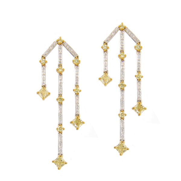 View 2.50ct tw Natural Fancy Yellow Diamond Chandelier Earrings Hand Hinged Dangling 18k Two Tone Gold