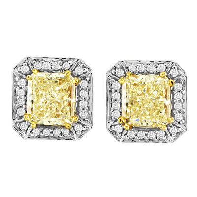View 1.50ct tw Natural Fancy Yellow-Fancy Diamond Earrings in 18k Two Tone
