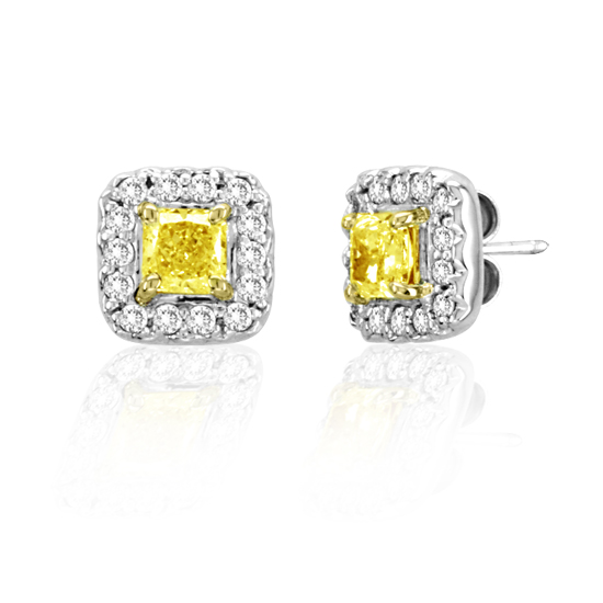 View 18k Two tone Gold Natural Fancy Yellow Diamond Earrings with 1.20cttw of Diamonds