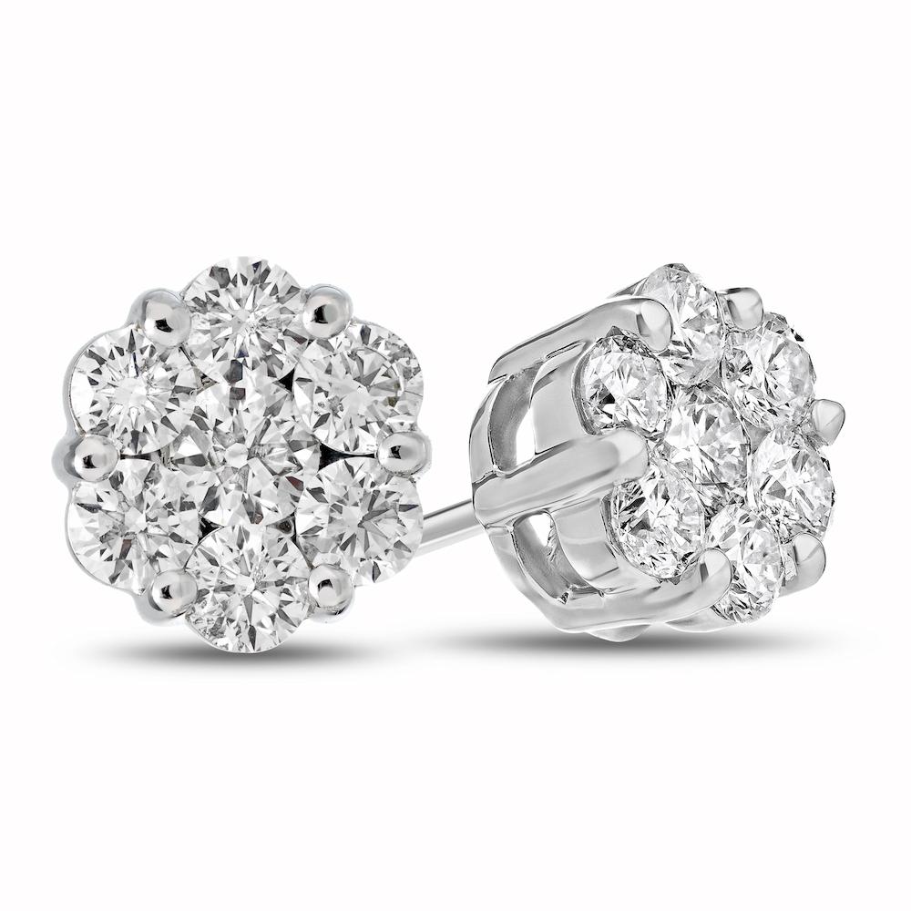 0.75cttw Diamond Cluster Earring set in 14k Gold