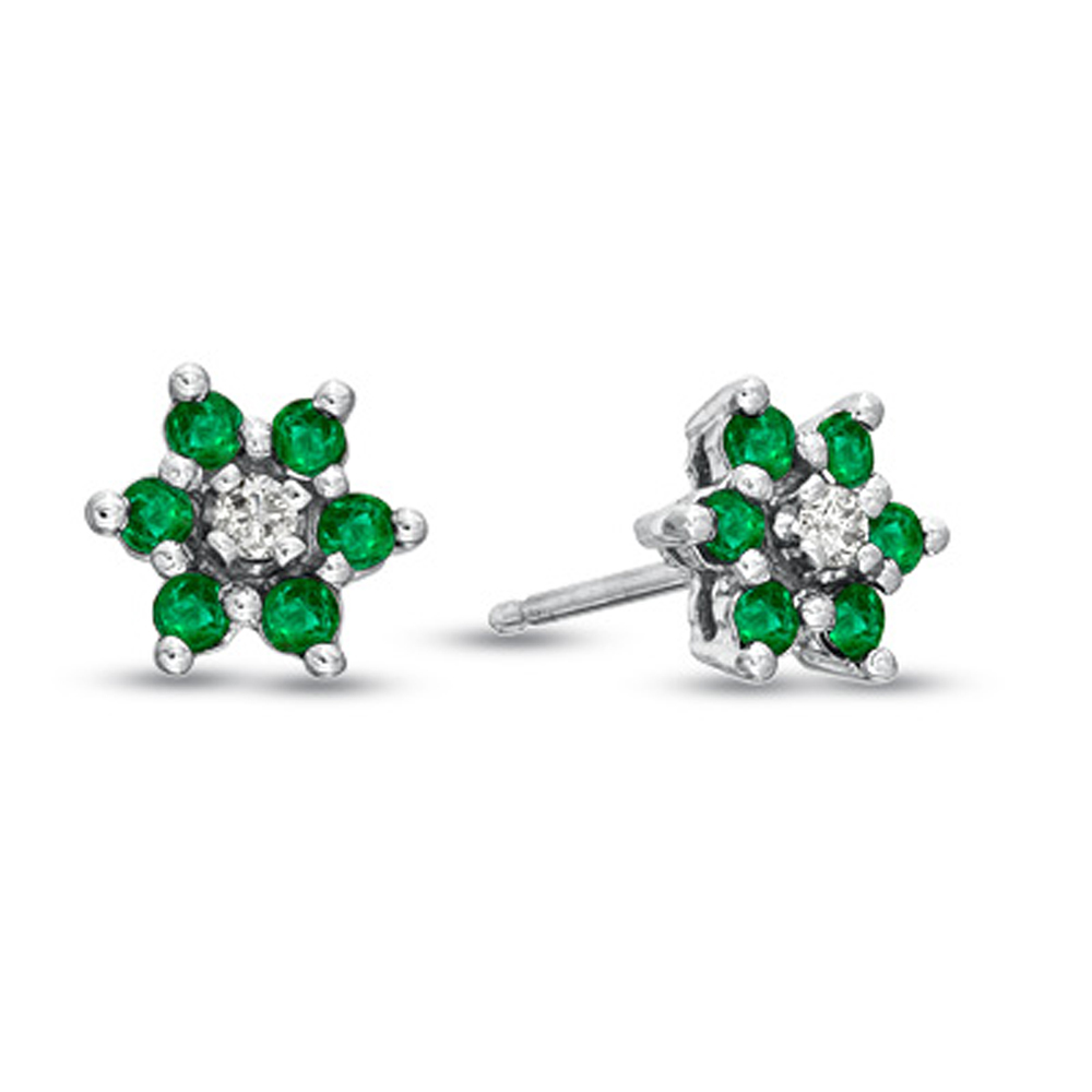 View 0.48cttw Emerald and Diamond Flower Cluster Earrings in 14k Gold
