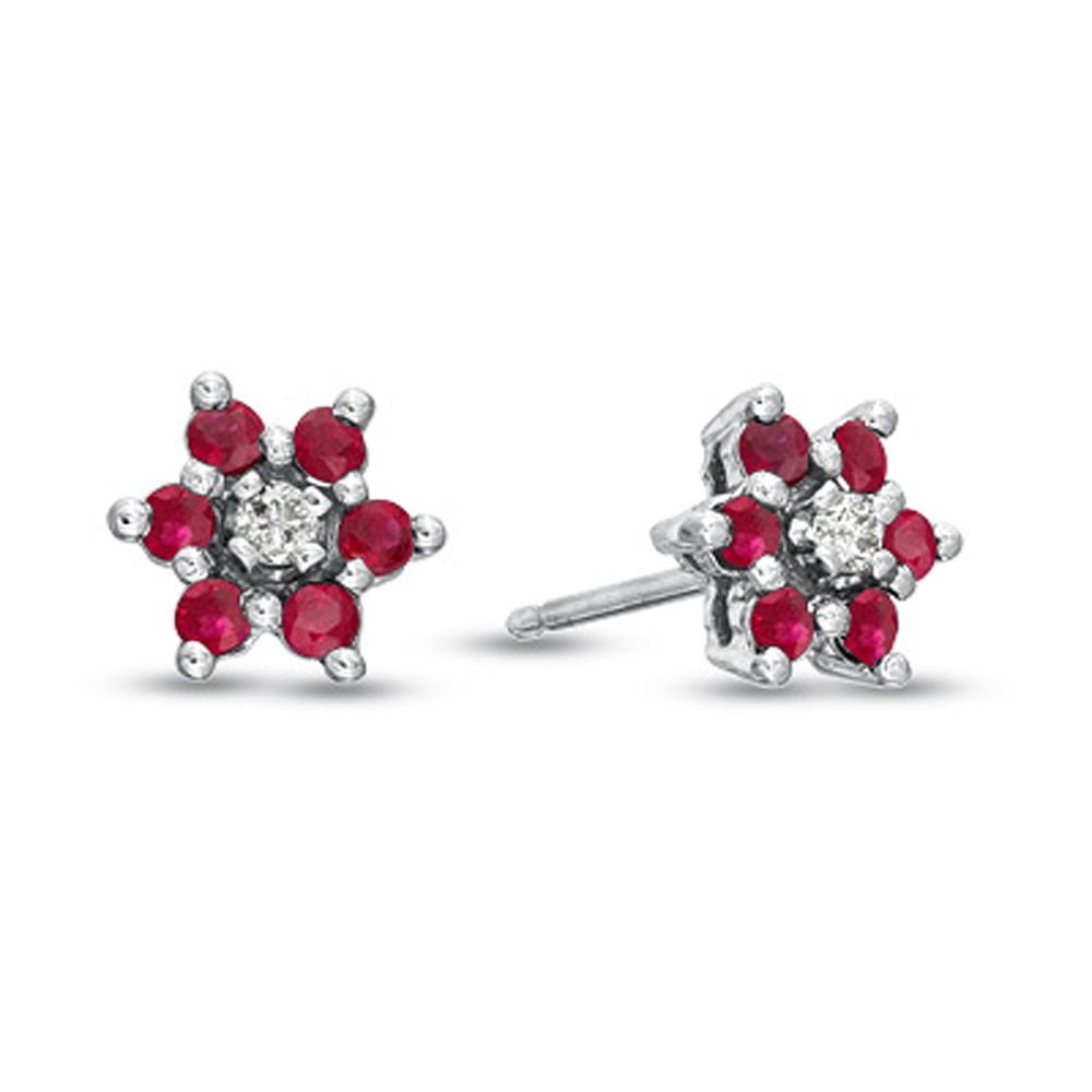 0.58cttw Natural Heated  Ruby and Diamond Flower Cluster Earring in 14k Gold
