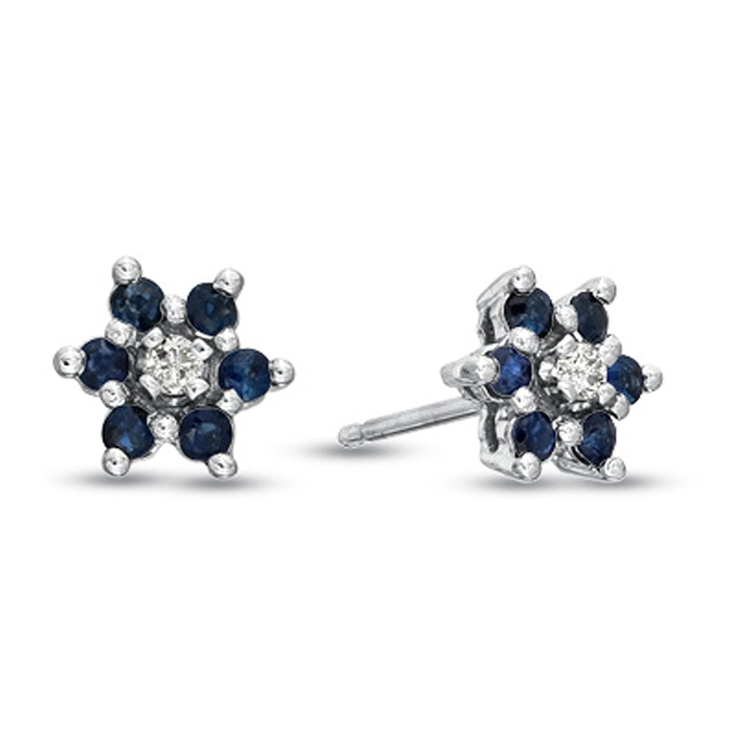 0.48cttw Sapphire and Diamond Flower Cluster Earrings set in 14k Gold