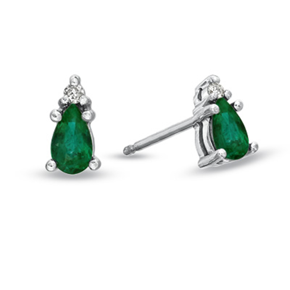 Pear Shaped Emerald and Diamond Earrings set in 14k Gold