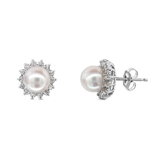 View 0.30cttw Diamond and Pearl Earring set in 14k Gold