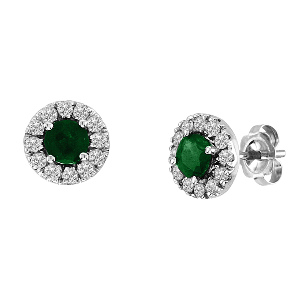 0.88cttw Emerald and Diamond Halo Earrings set in 14k Gold
