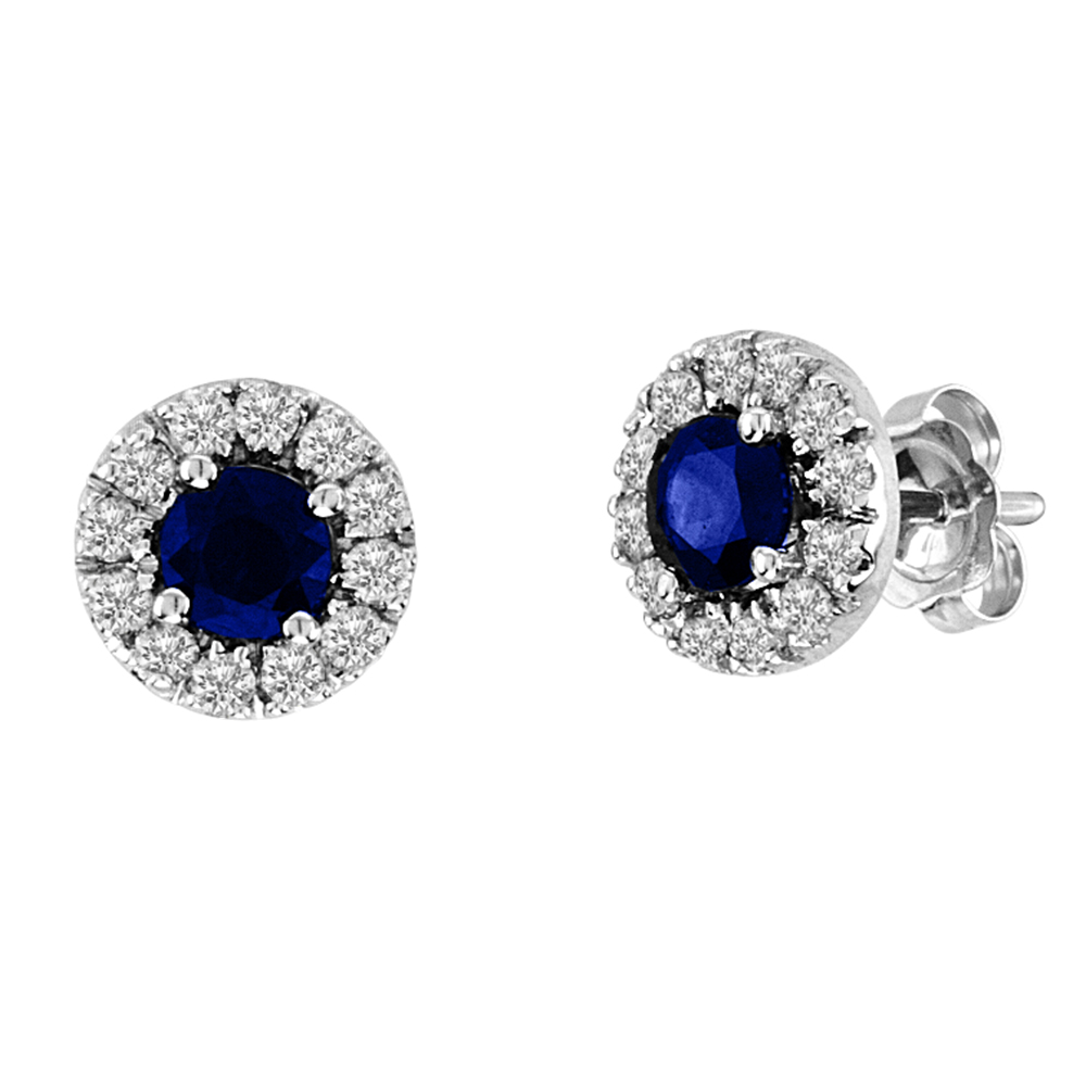 View 0.93cttw Sapphire and Diamond Halo Earring set in 14k Gold