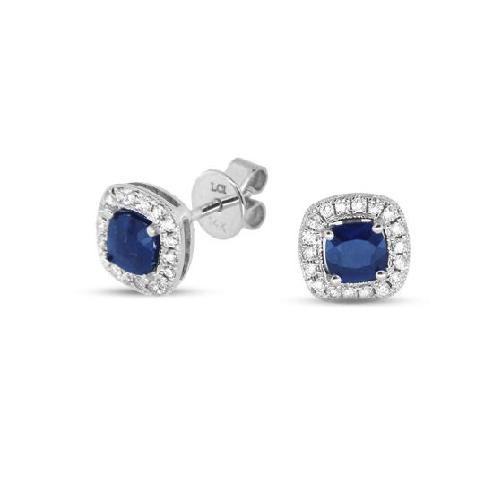 View 0.75cttw Cushion Cut Sapphire and Diamond Fashion Earring set in 14k Gold