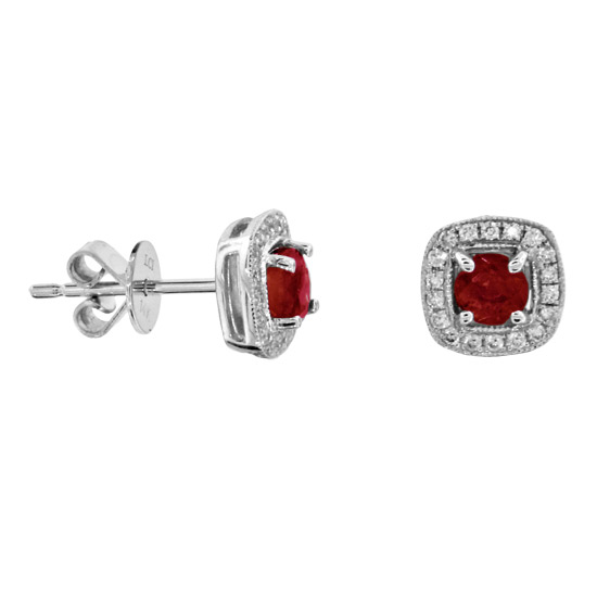 View 0.94cttw Natural Heated Ruby and Diamond Earrings in 14k Gold