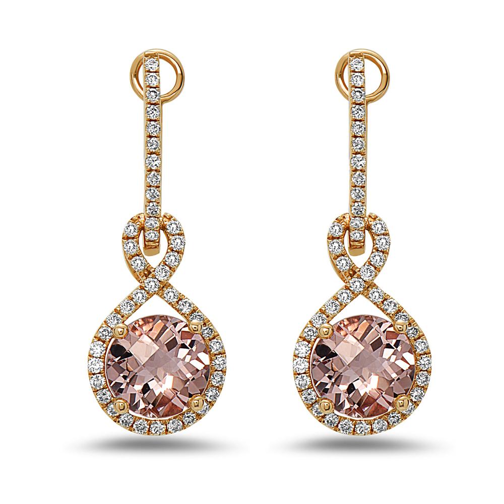 View 2.66cttw Morganite and Diamond Earrings in 14k Rose Gold