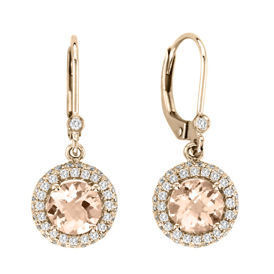 View 2.05cttw Morganite and Diamond Fashion Earrings in 14k Rose Gold
