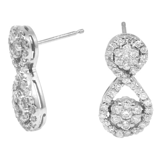 View 0.85cttw Diamond Cluster Drop Earring in 14k White Gold