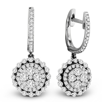 View 1.22cttw Diamond Cluster Fashion Earrings in 18k White Gold