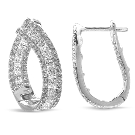 View 1.44cttw Diamond Curved Hoop Earring in 18k White Gold