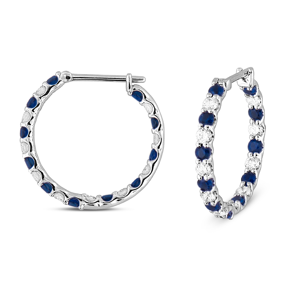 View 1.56ctw Diamond and Sapphire Hoop Earring in 18k WG