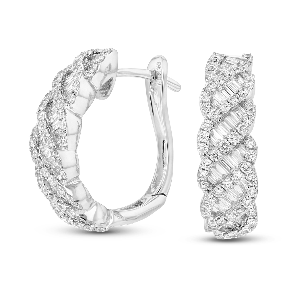 View 1.41ctw Diamond Fashion Hoop Earrings in 18k White Gold