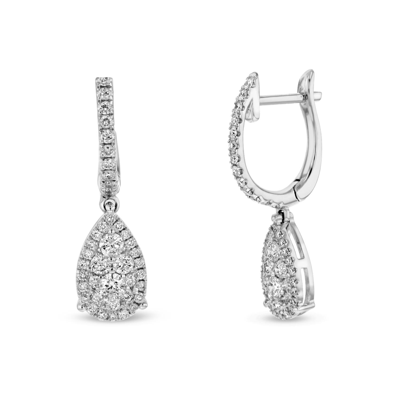 View 0.63ctw Diamond Fashion Tear Drop Earrings in 18k WG