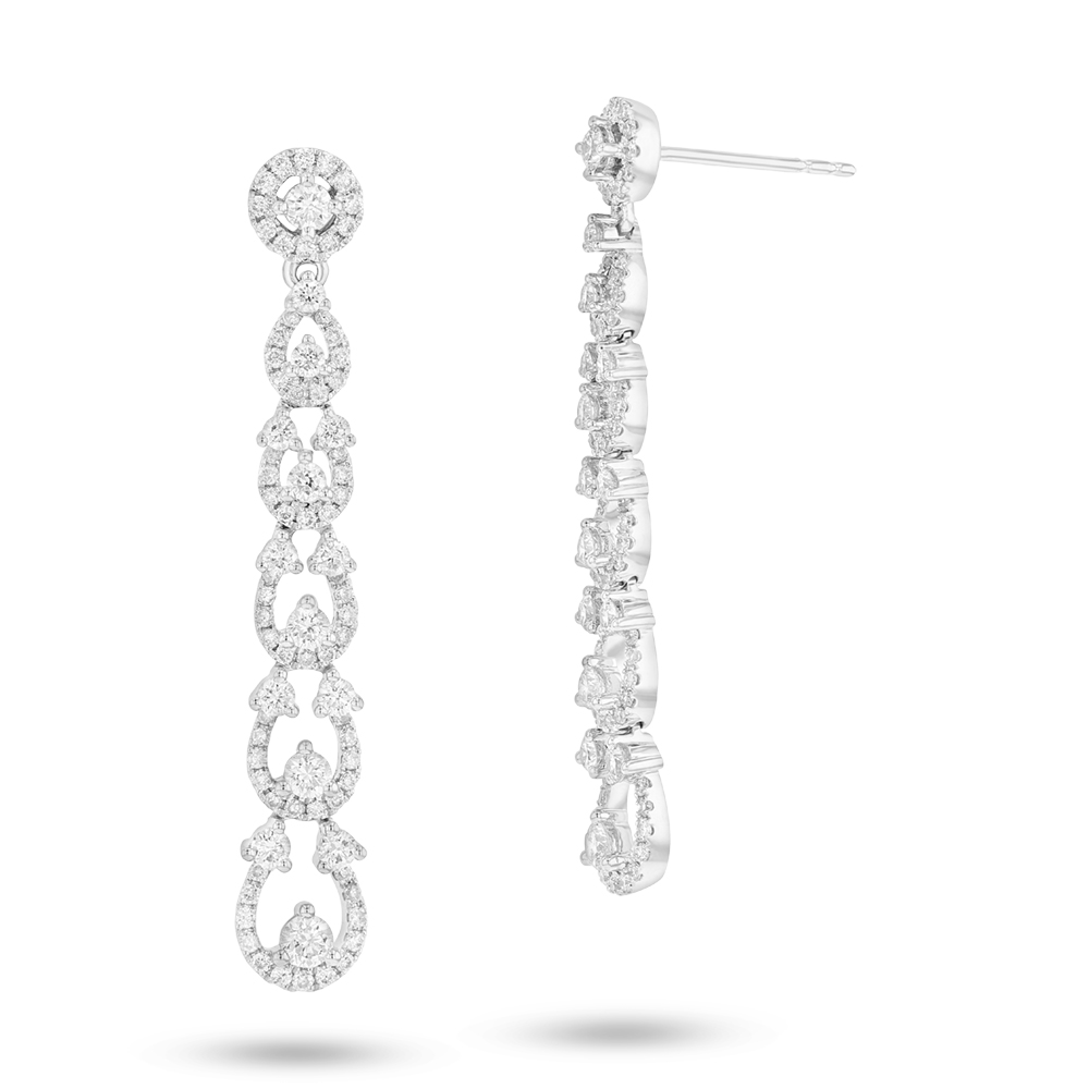 View 1.54ctw Diamond Fashion Dangling Earrings in 18k WG