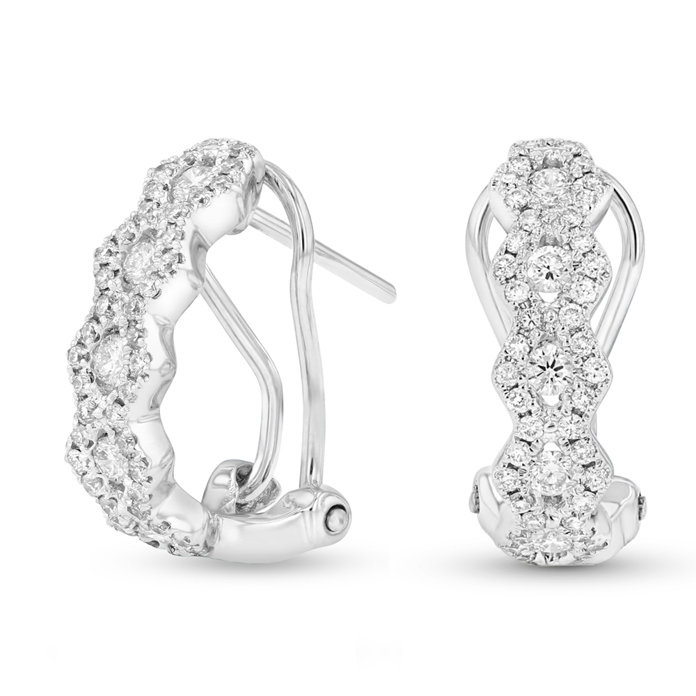 View 0.57ctw Diamond Fashion Hoop Earrings in 18k WG