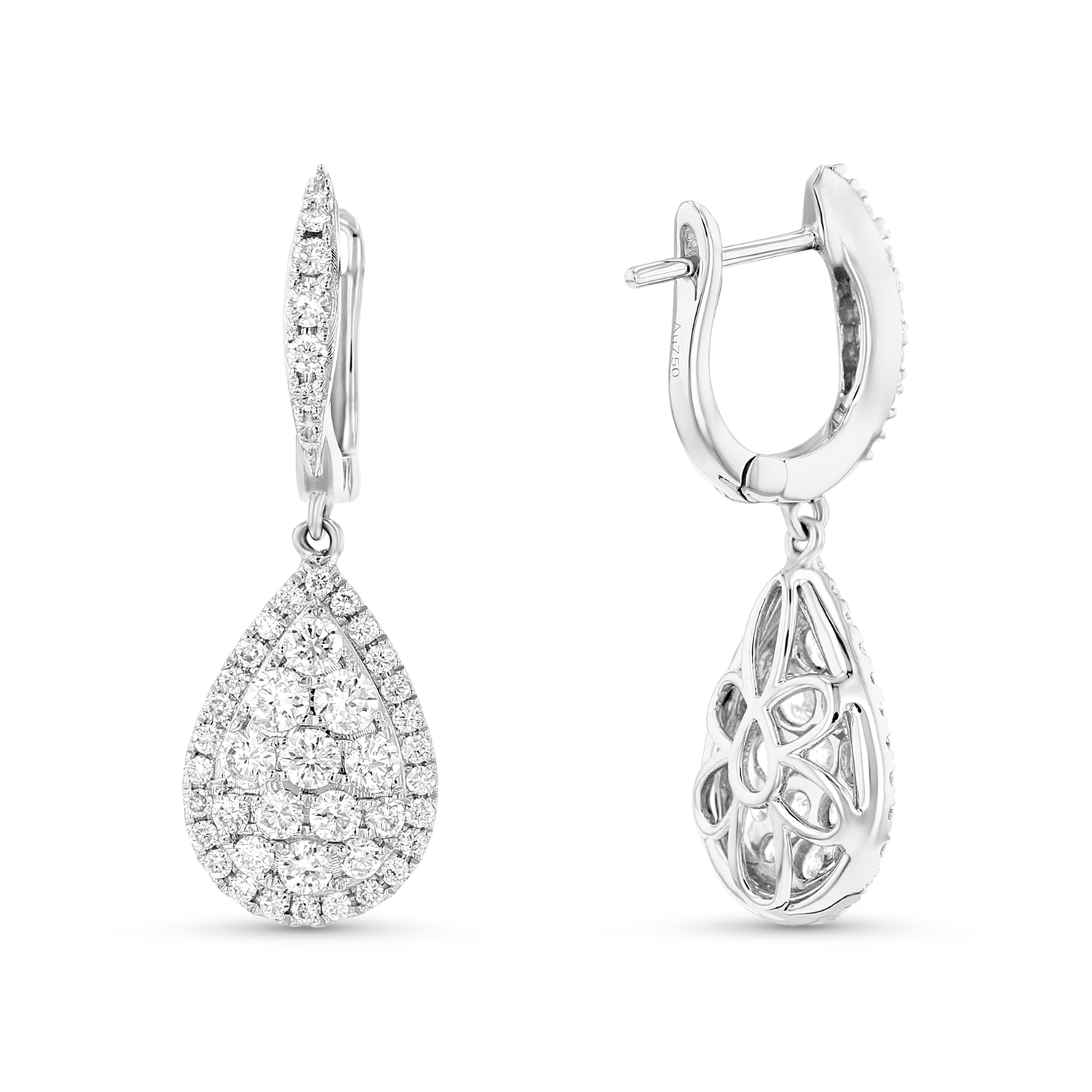 View 0.99ctw Diamond Pear Shaped Earrings in 18k White Gold
