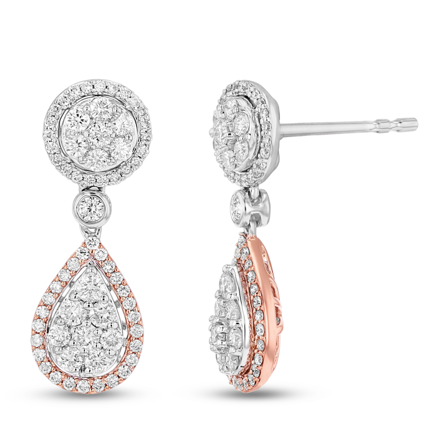 View 0.75ctw Diamond Fashion Earrings in 14k Two Tone Gold