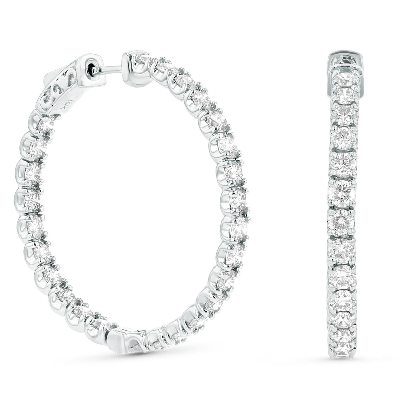 View 5.00ctw Diamond Hoop Earrings in 14k White Gold