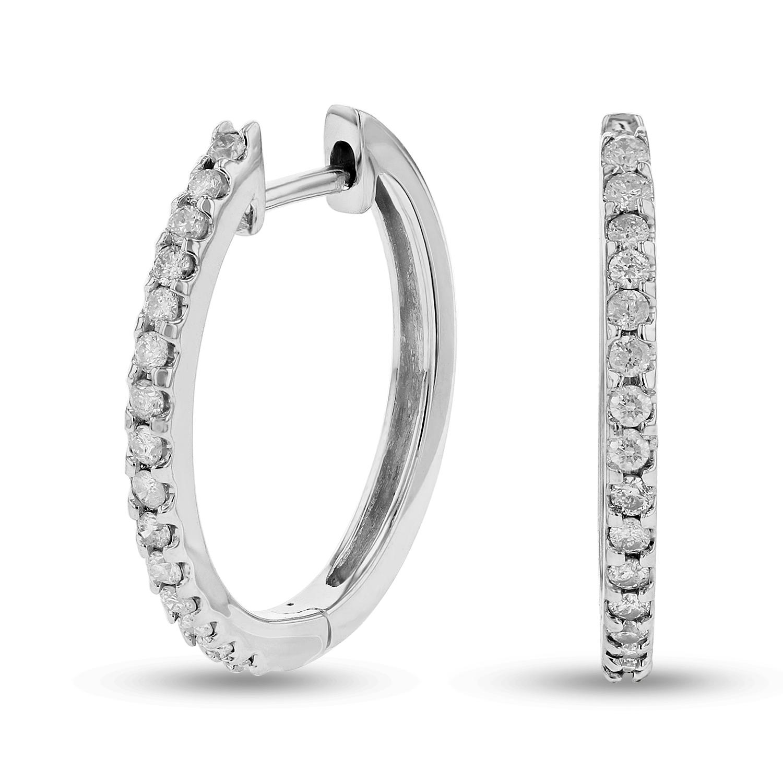 View 1/2ctw Diamond Hoop Earrings in 14k Gold