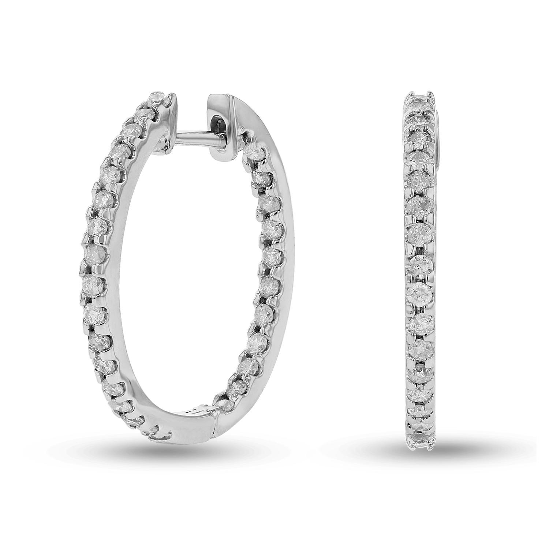 View 0.70ctw Diamond Hoop Earrings in 14k Gold
