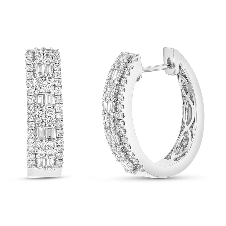 View 0.95ctw Diamond Fashon Hoop Earring in 18k White Gold