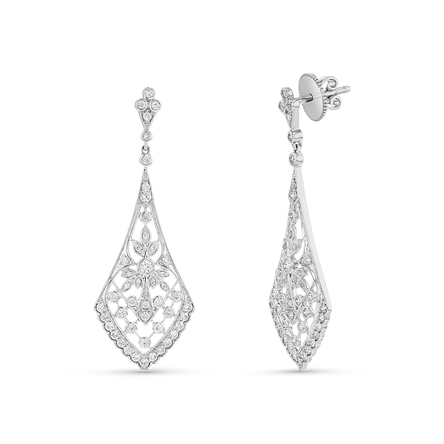 View  0.94ctw Dia Dangling Earrings in 18k White Gold