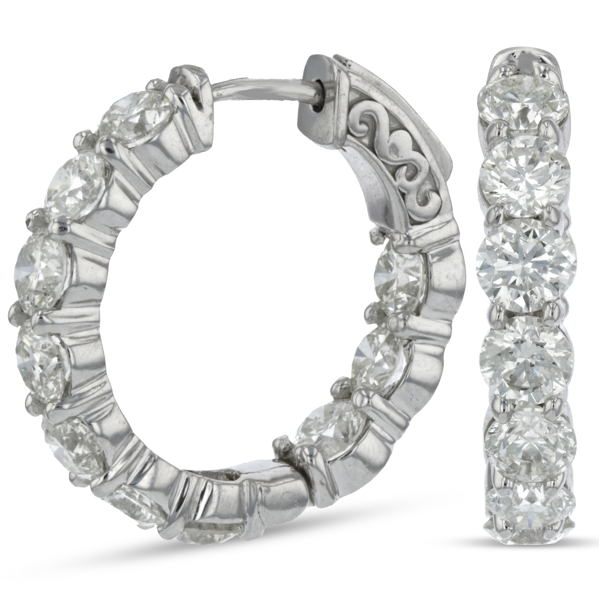 View 5.00ctw Diamond Inside Out Hoop Earrings in 14k White Gold