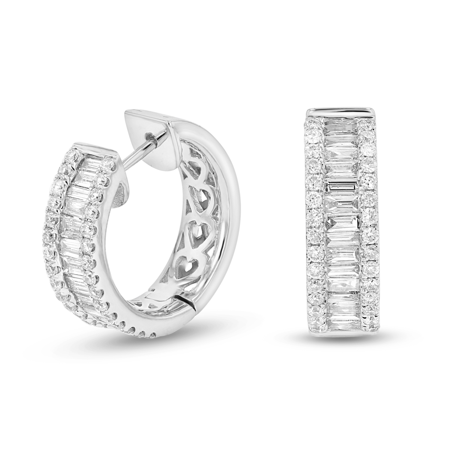 View 0.76ctw Diamond Hoop Earring in 18k White Gold