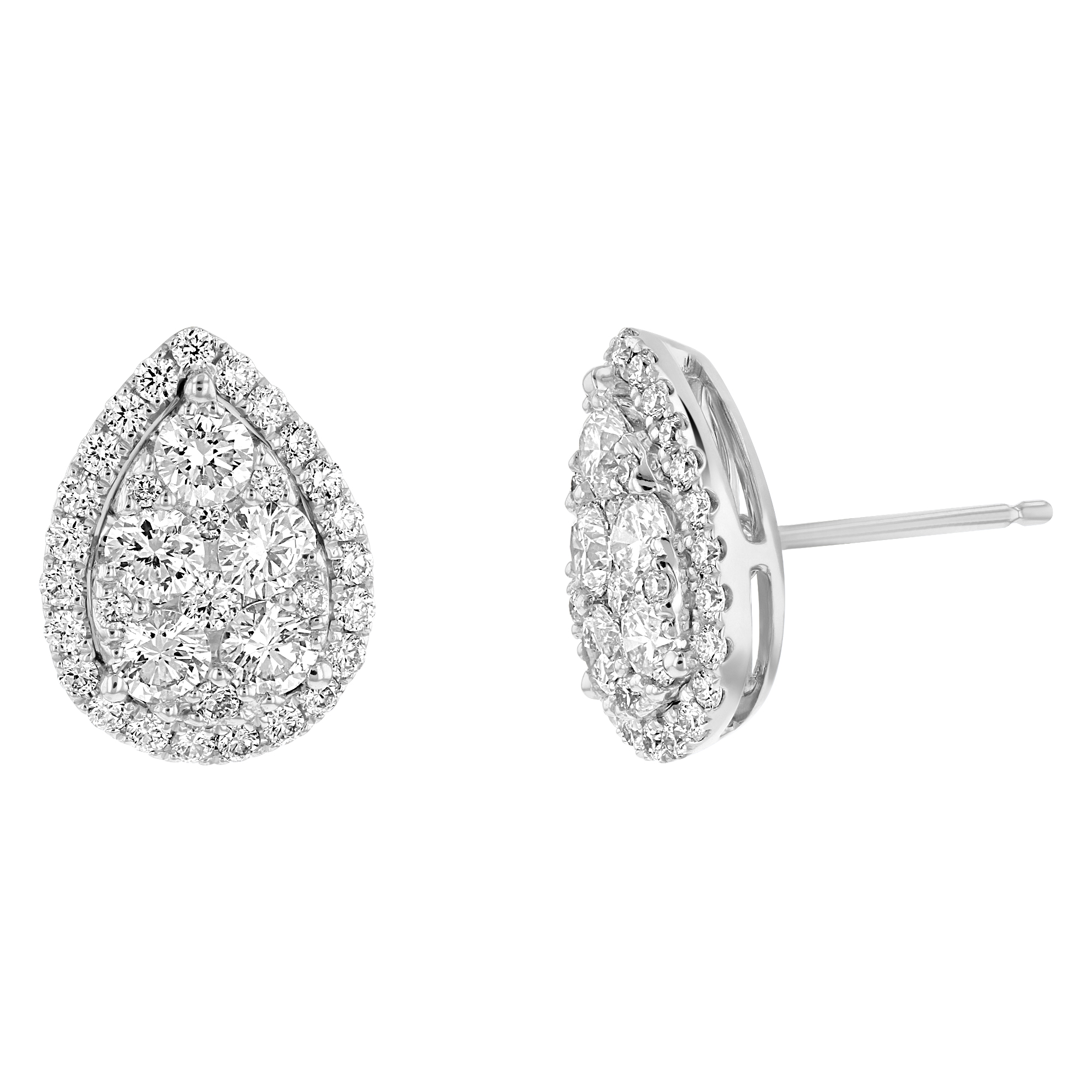 View 1.49ctw Diamond Pear Shaped Cluster Earring in 18k White Gold