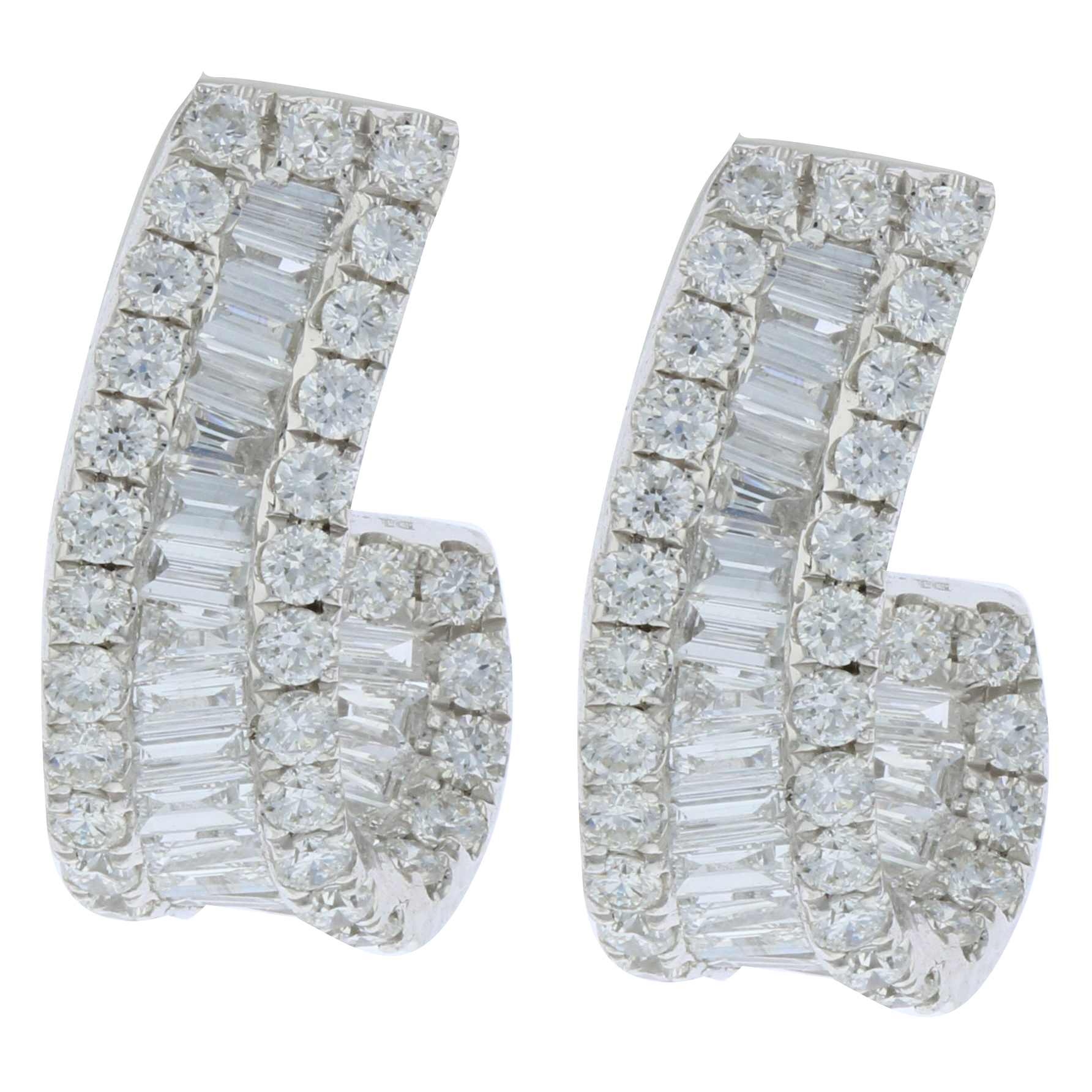 View 1.30ctw Diamond Half Hoop Earrings in 18k White Gold