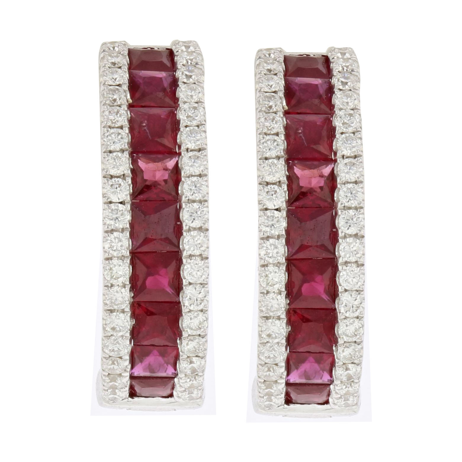 View 1.02ctw Diamond and Ruby Hoop Earrings in 18k White Gold