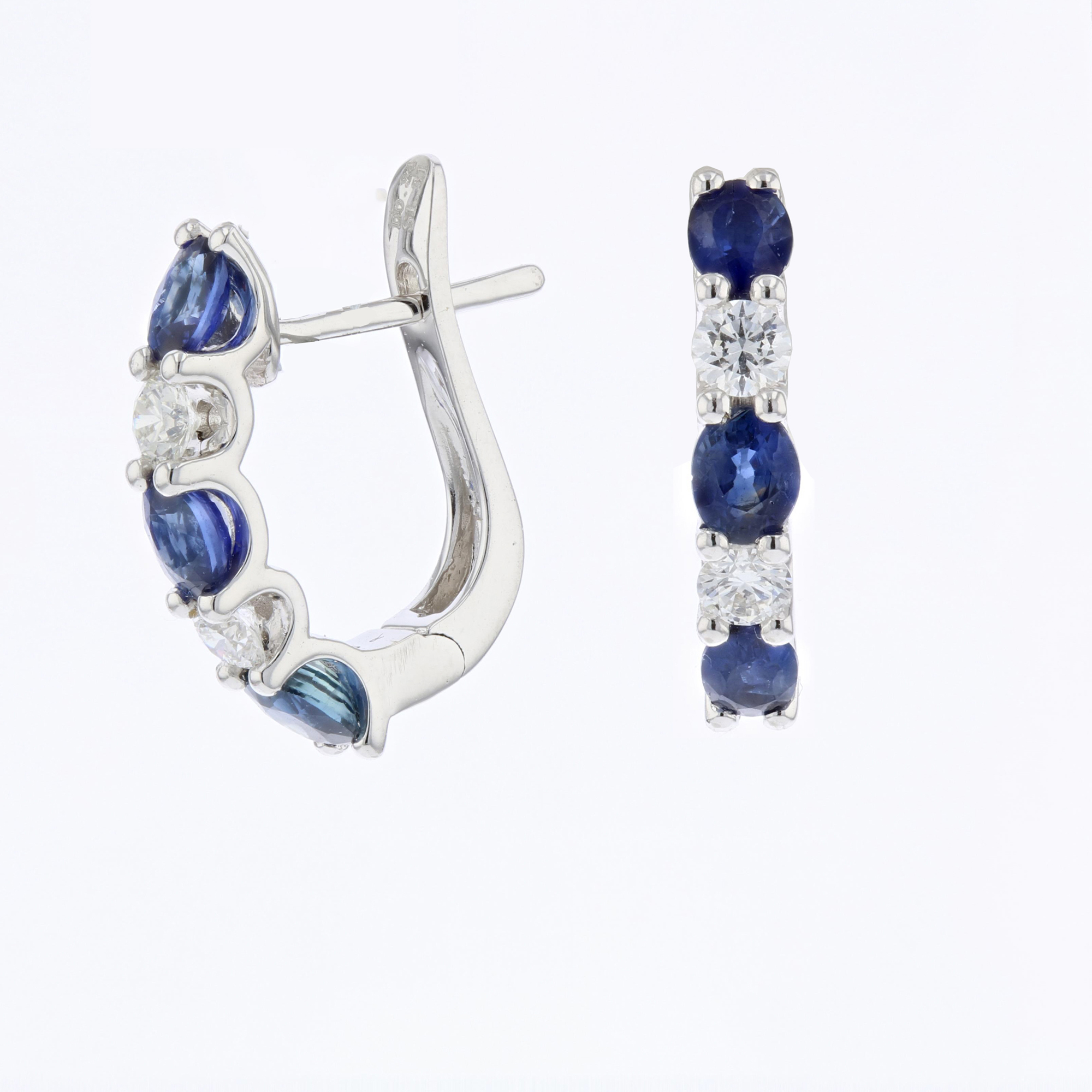 View 1.65ctw DIamond and Sapphire Hoop Earrings in 18k White Gold