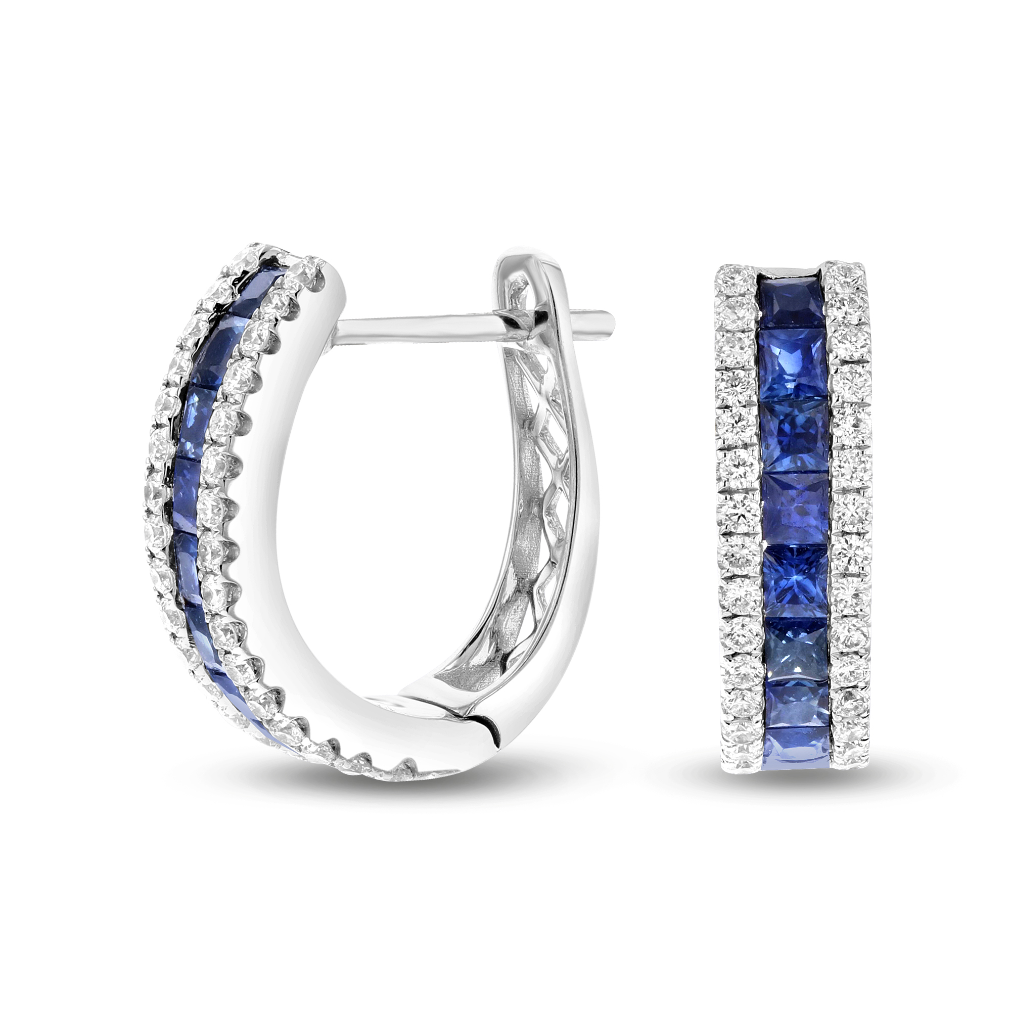 View 1.67ctw Diamond and Sapphire Hoop Earrings in 18k White Gold