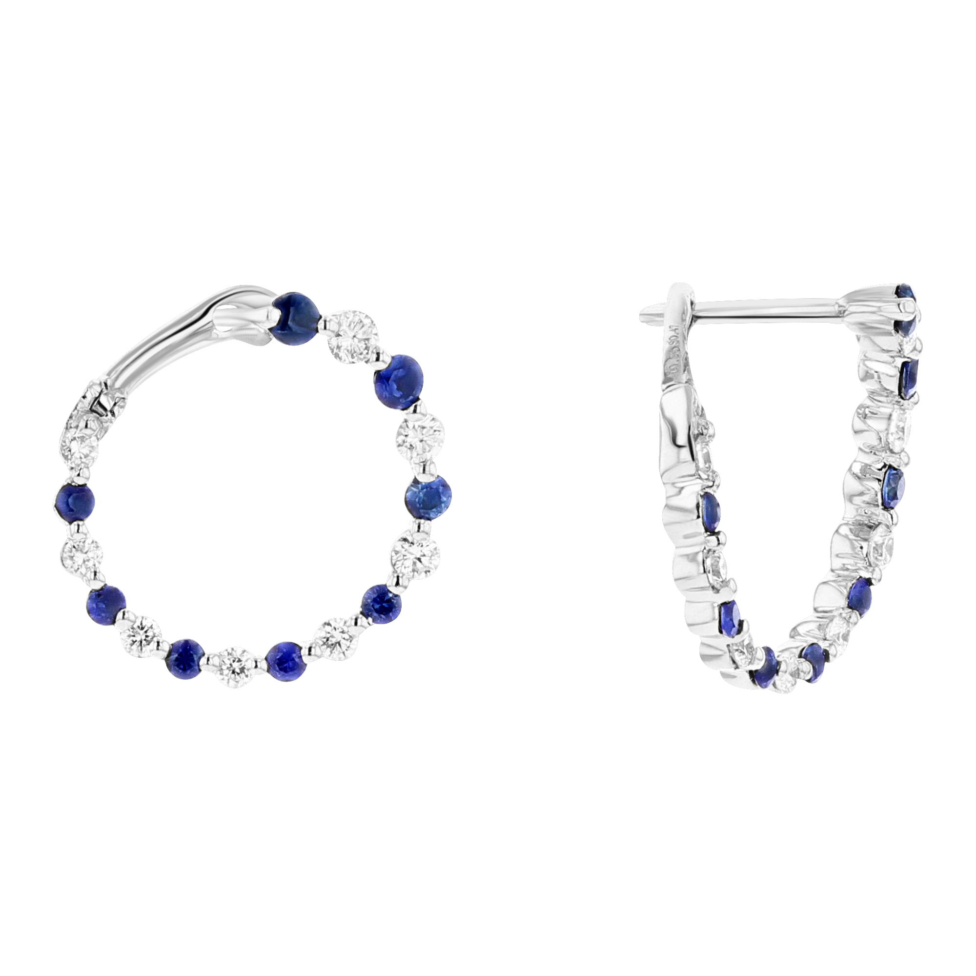 View 0.82ctw Diamond and Sapphire Fashion Earrings in 18k White Gold