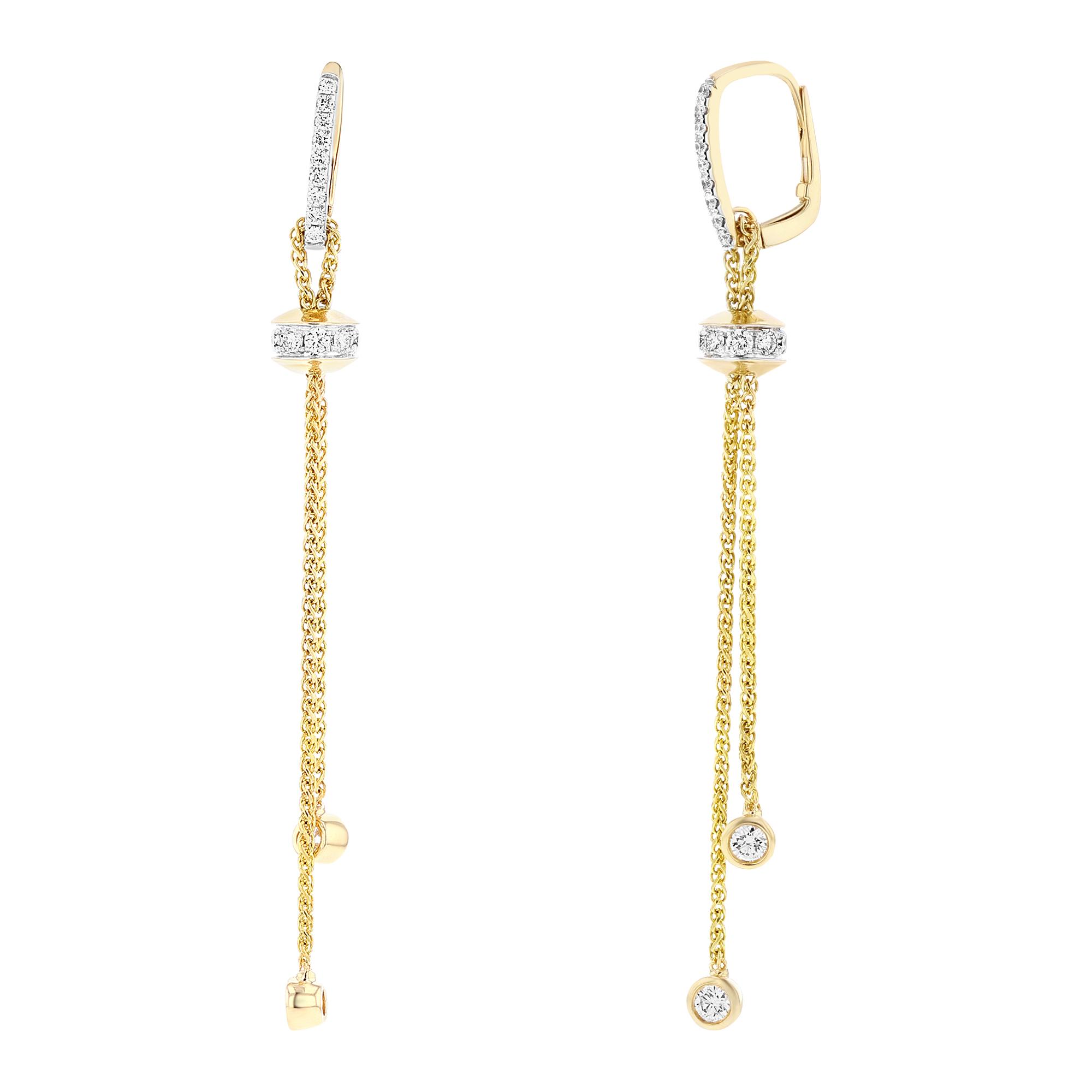 View 0.80ctw Diamond Fashion Dangling Earrings in 18k Yellow Gold