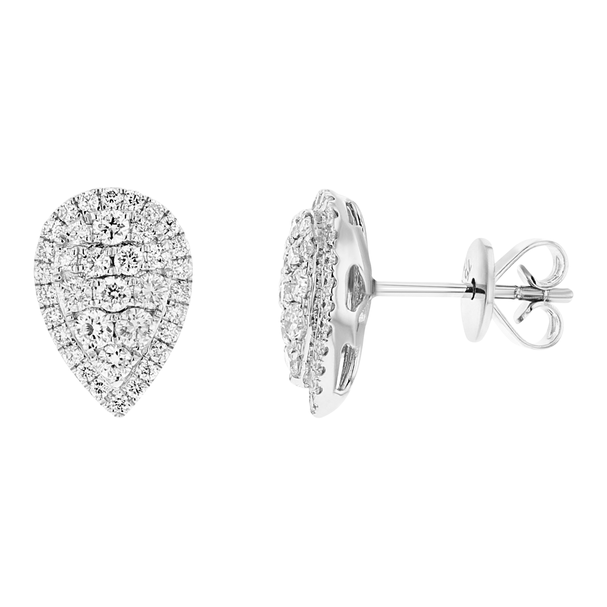 View 0.80ctw Diamond Pear Shaped Cluster Stud Earrings in 18k Whiite Gold