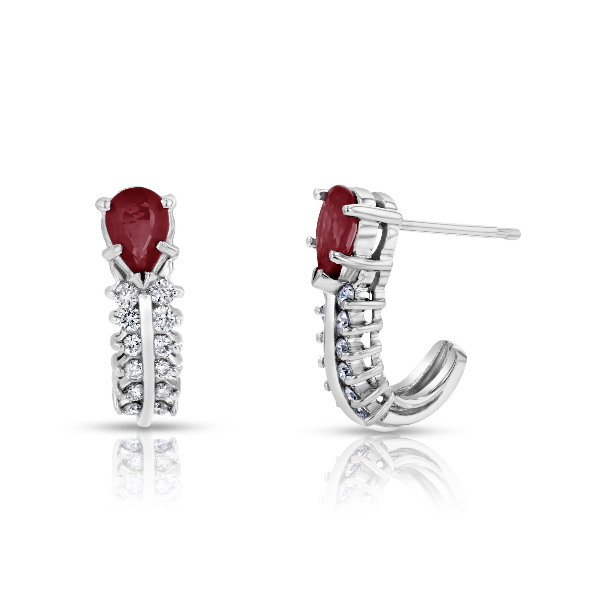 View 0.30ctw Diamonds and Ruby Earrings in 14k White Gold