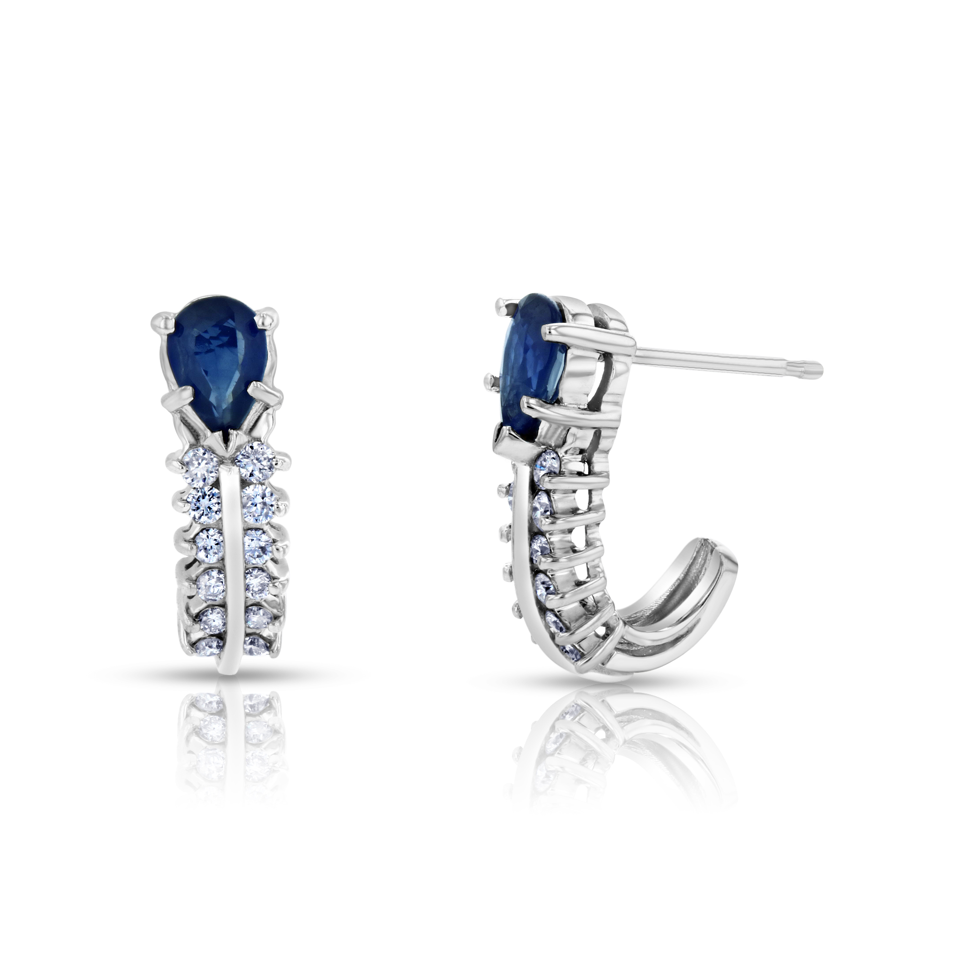 View 0.30ctw Diamonds and Sapphire Earrings in 14k White Gold