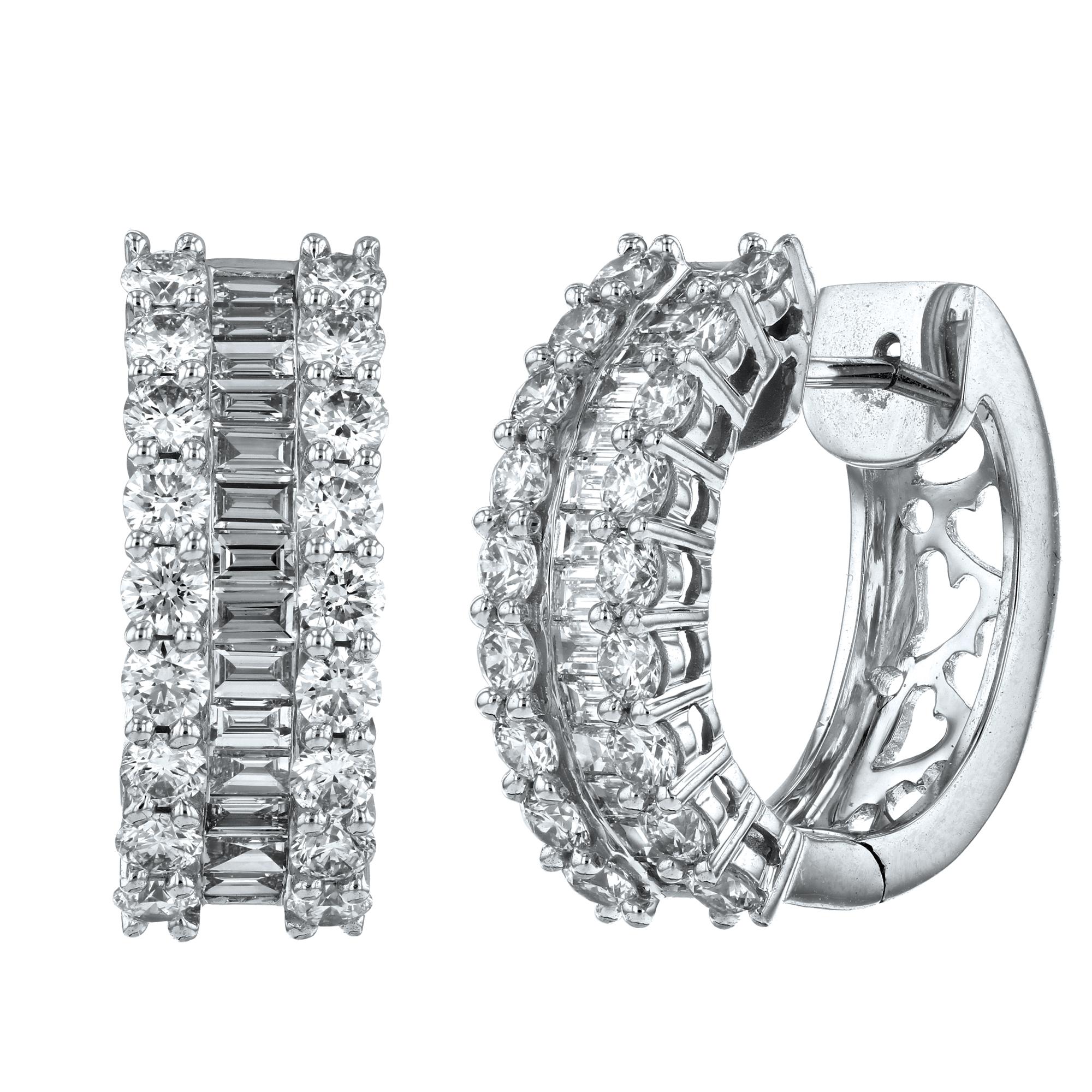 View 3.45ctw Diamond Hoop Earrings in 18k White Gold