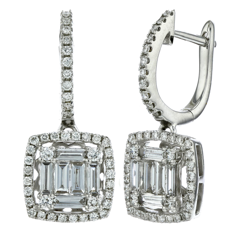 1.02ctw Diamond Cluster Dangling Earrings in 18k White Gold