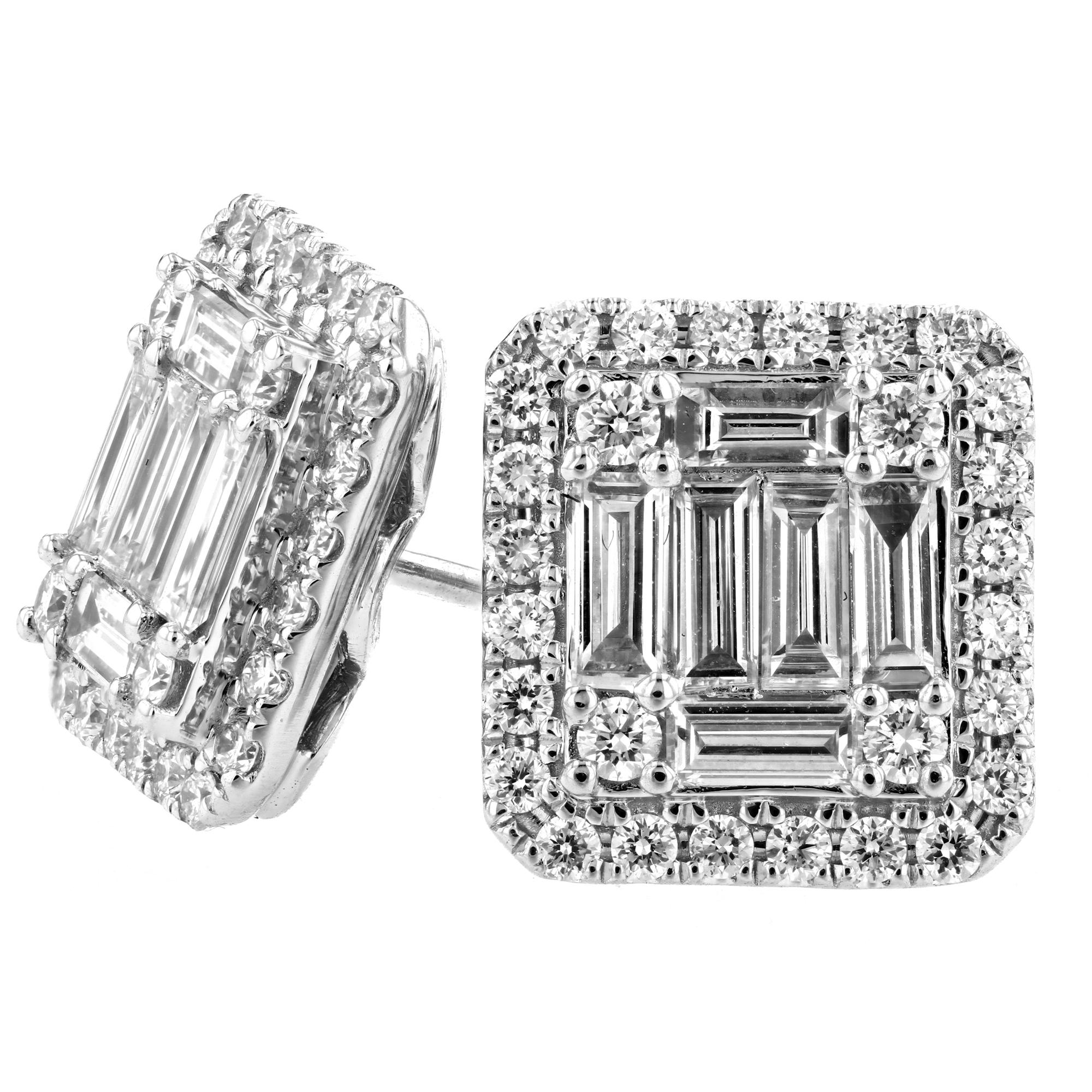 1.33ctw Diamond Cluster Earrings in 18k White Gold