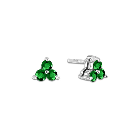 View 0.30cttw Emerald Three Stone Earrings in 14k Gold