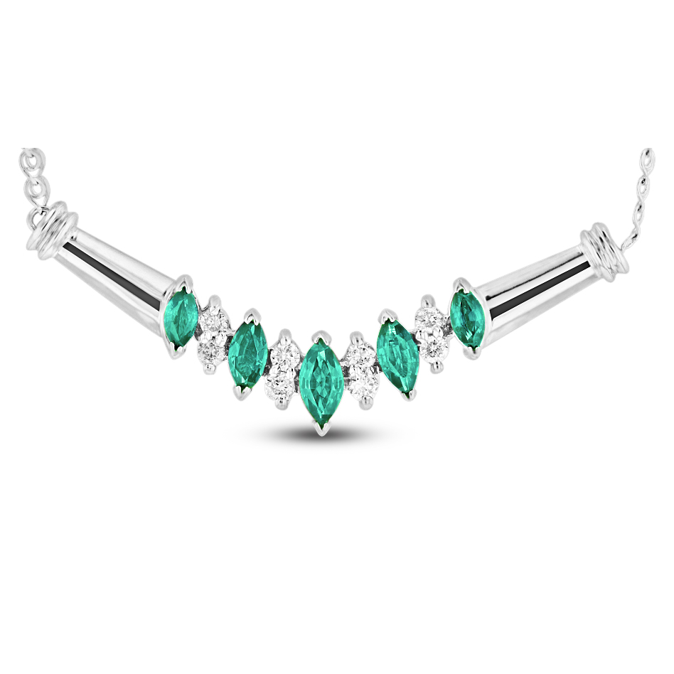 View 0.65ctw Emerald and Diamond Necklace in 14k white gold